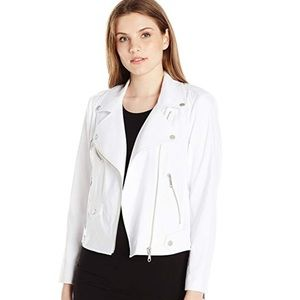 Rebecca Minkoff Moto Jacket white zippers fabric